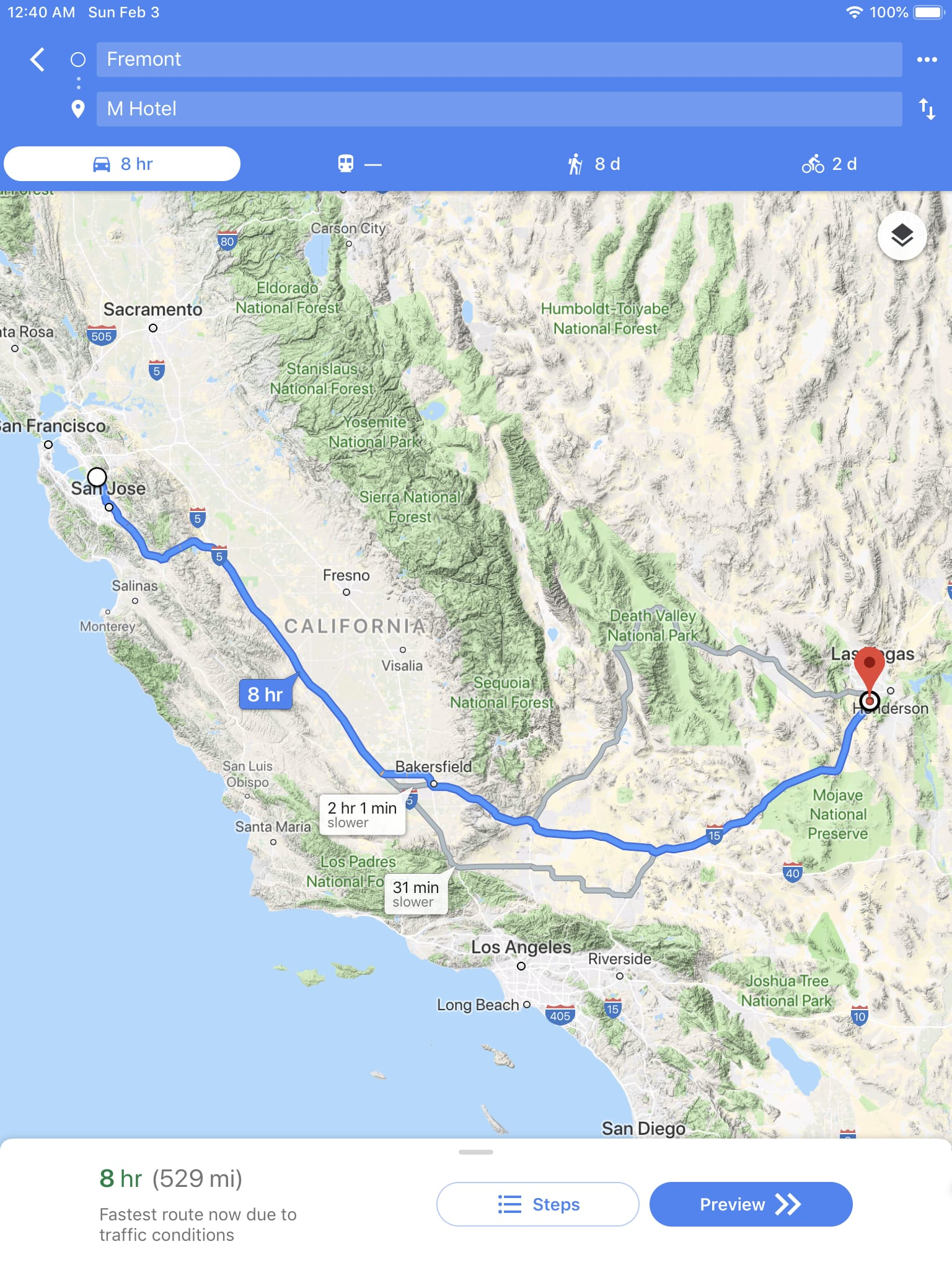 Route wmap from Fremont California to M Hotel at Las Vegas