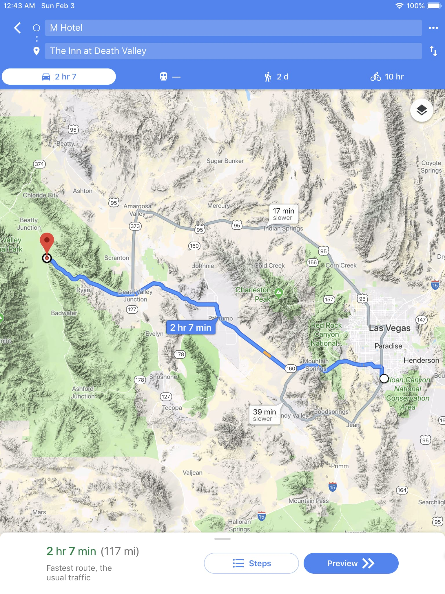 Route wmap from M Hotel Las Vegas to The Inn at Death Valley