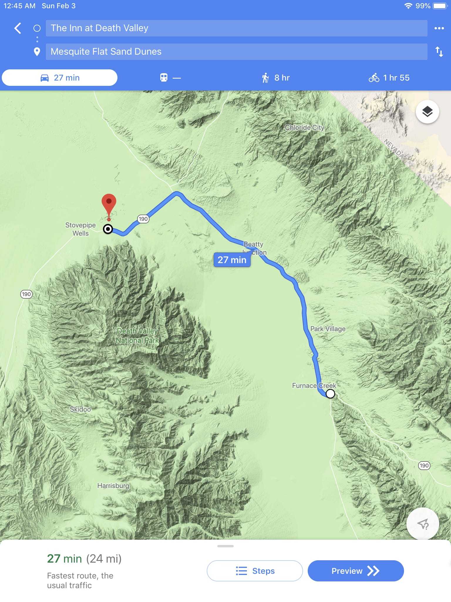 Route wmap from The Inn at Death Valley to Mesquite Flat Sand Dunes