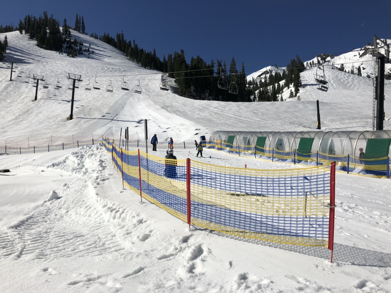 Squaw Valley magic carpet area for kids' ski level test