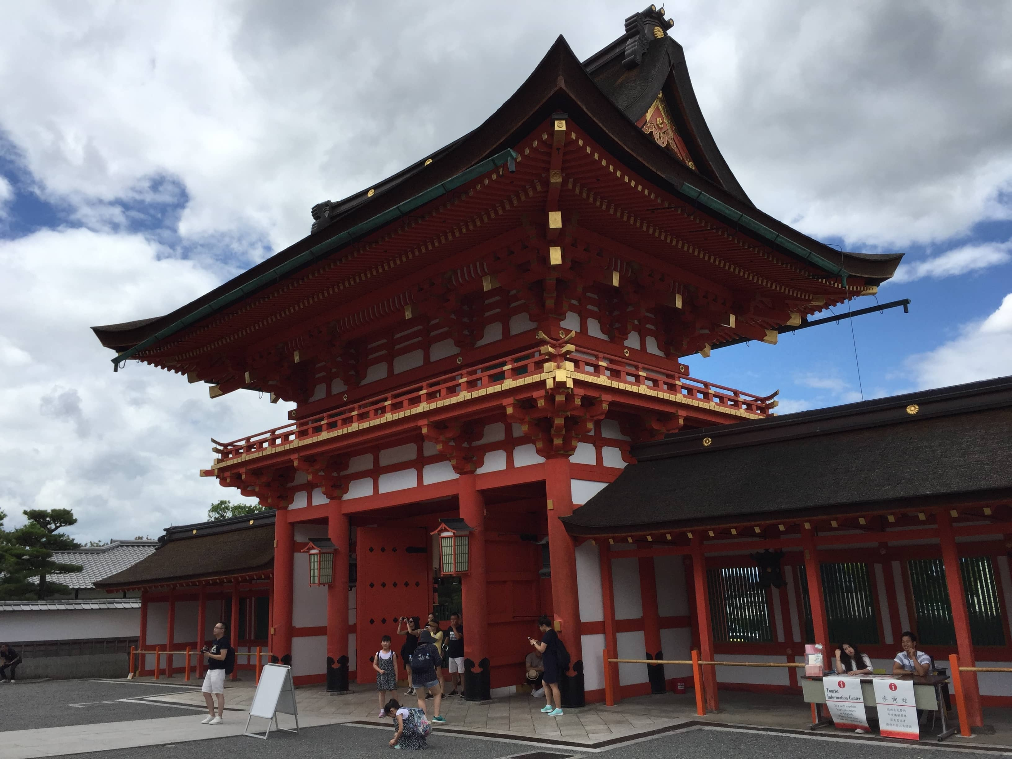 The two-storied gate (Rōmon) of the shrine, which was built by Toyotomi Hideyoshi to pray for his mother to recover.