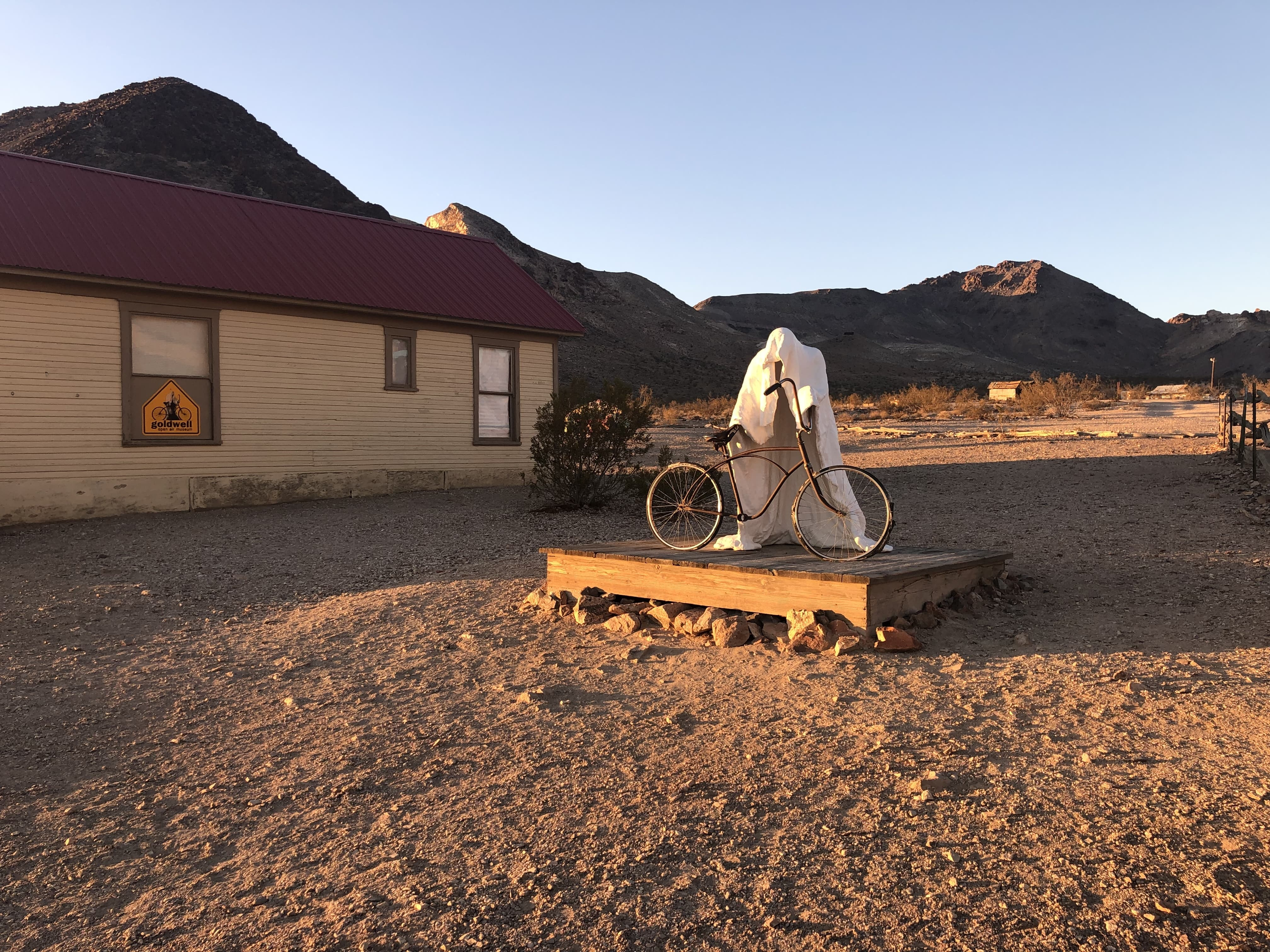 """Ride a bicycle"" is one of Albert Szukalksi's sculptures at Rhyolite"