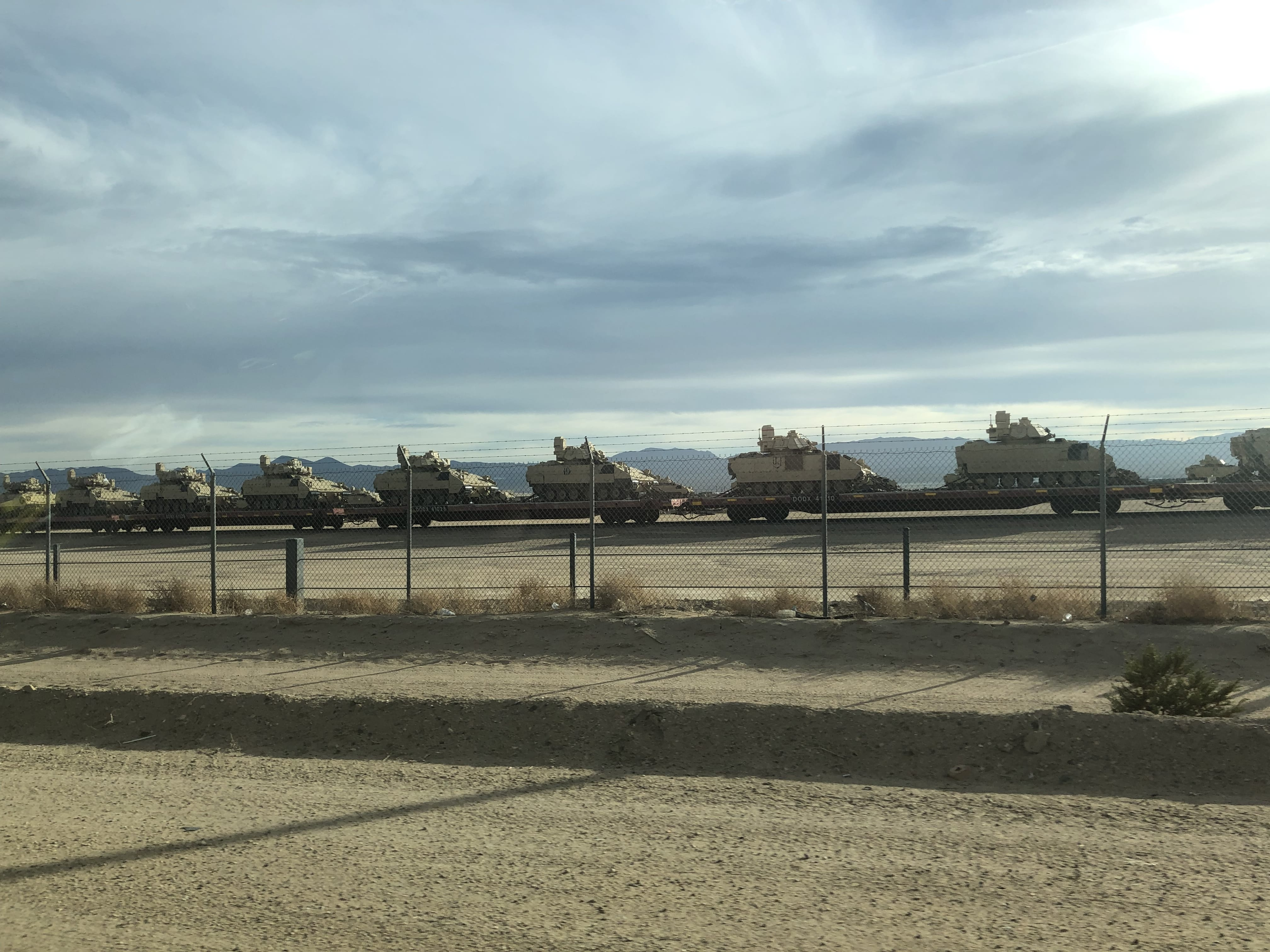 On the way to Las Vegas, we saw a bunch of M2 Bradley waiting to be transferred at Barstow.
