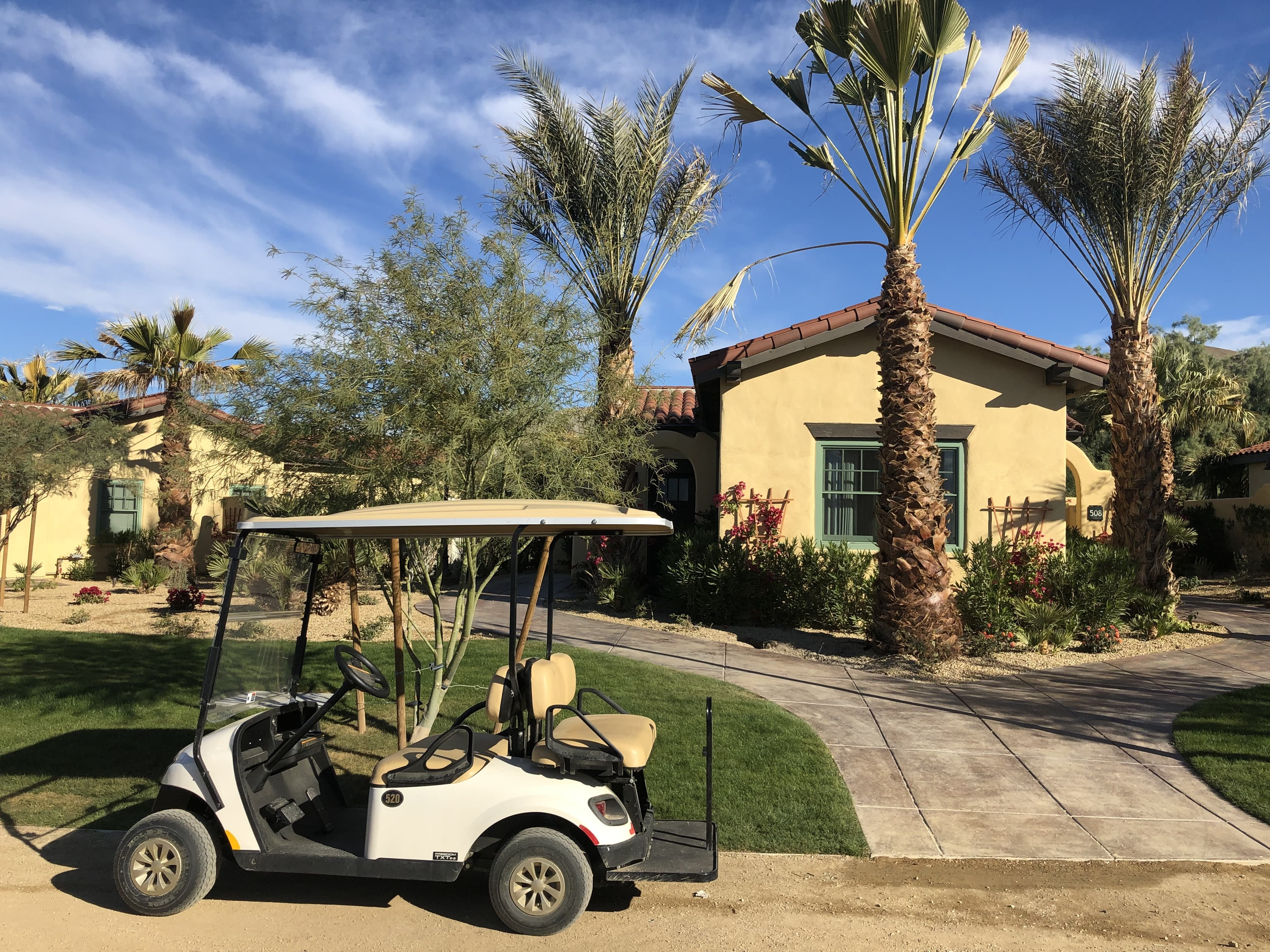 The Casita is over 500 square feet and comes with a complimentary golf cart for us to use to get around in The Inn at Death Valley