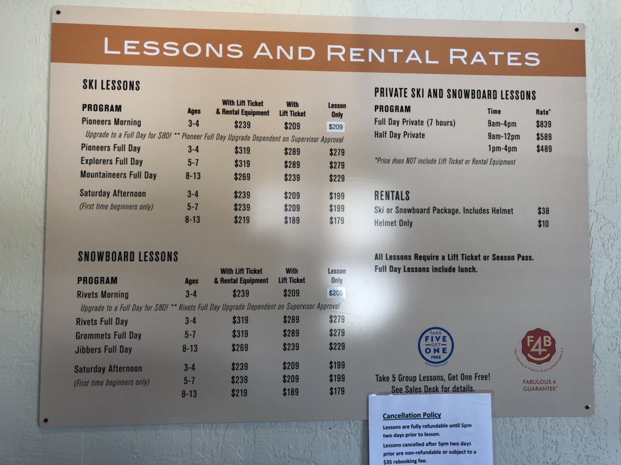 Price list of 2019 Squaw Kids ski & snowboard lessons